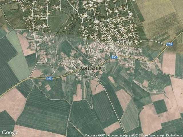 Сателитна карта на Ясеновец