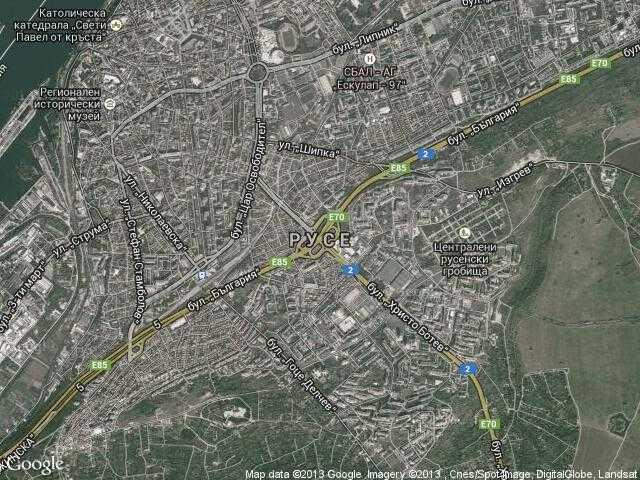 Сателитна карта на Русе