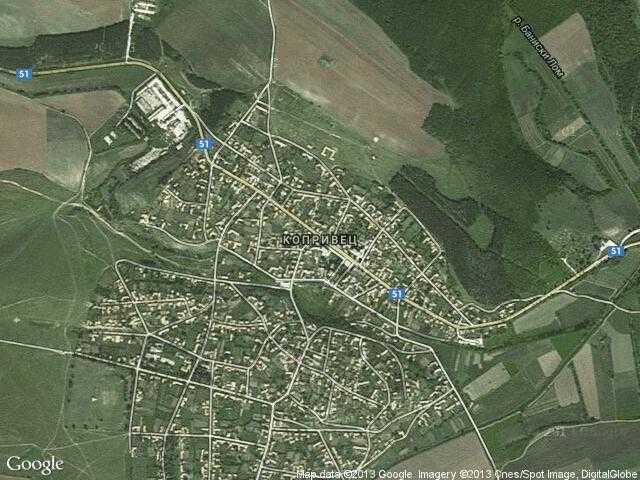 Сателитна карта на Копривец
