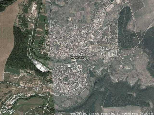 Сателитна карта на Красен