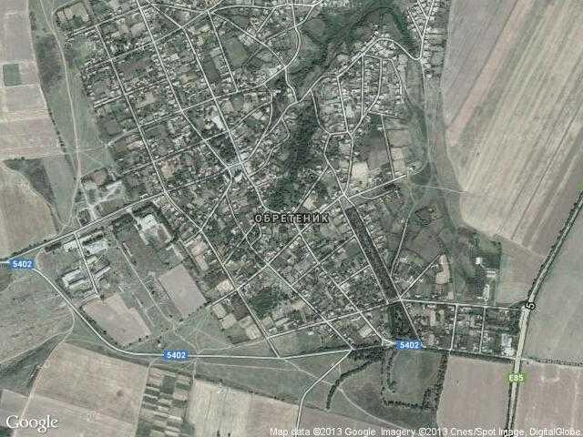 Сателитна карта на Обретеник