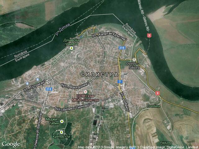 Сателитна карта на Силистра