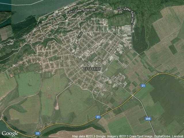 Сателитна карта на Тутракан
