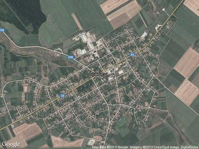Сателитна карта на Окорш
