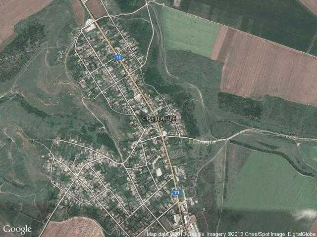 Сателитна карта на Средище