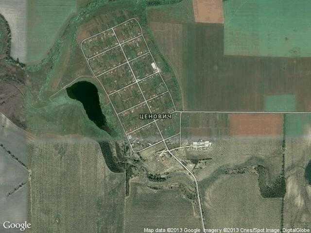 Сателитна карта на Ценович