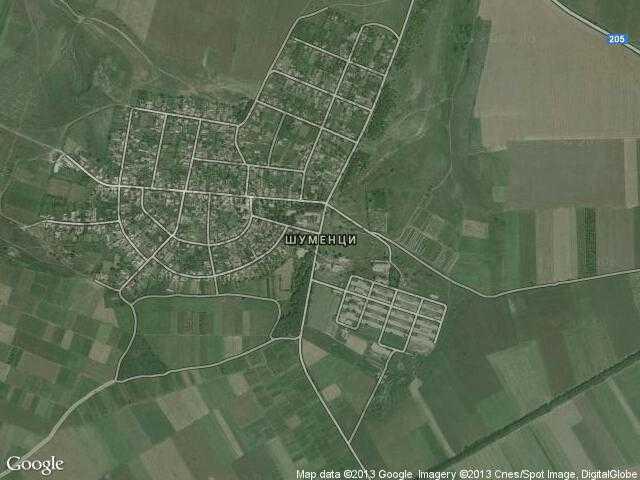 Сателитна карта на Шуменци