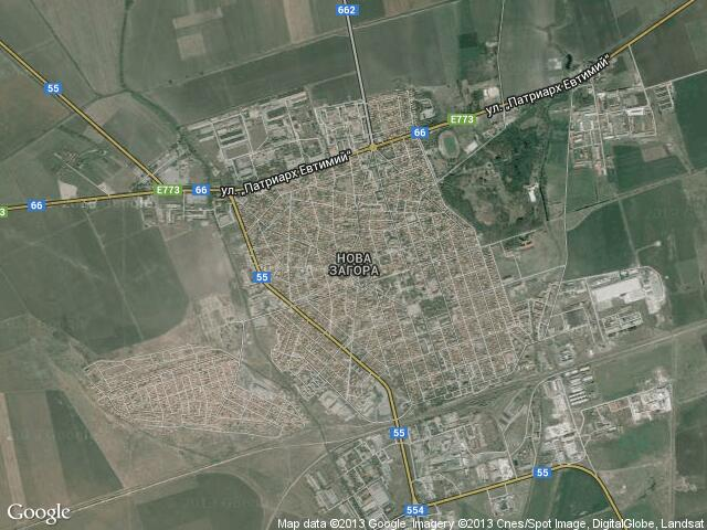Сателитна карта на Нова Загора