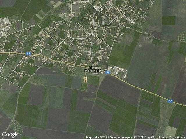 Сателитна карта на Пет могили