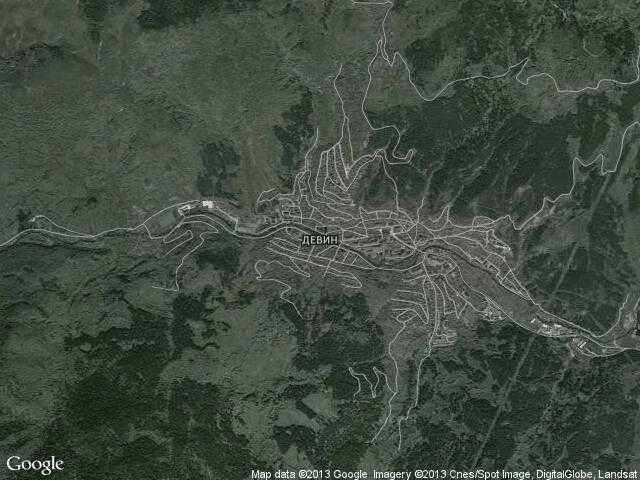 Сателитна карта на Девин