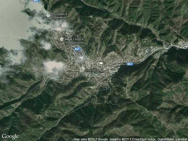 Сателитна карта на Златоград
