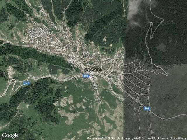 Сателитна карта на Борино