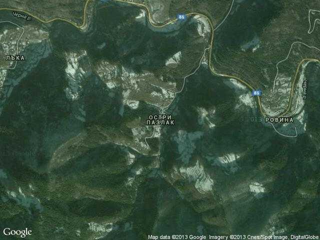 Сателитна карта на Остри пазлак
