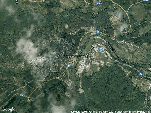 Сателитна карта на Средногорци