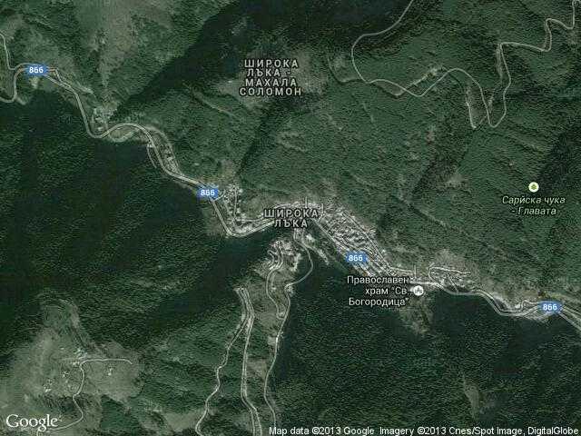 Сателитна карта на Широка лъка