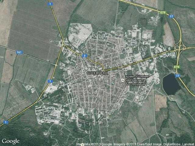 Сателитна карта на Ботевград