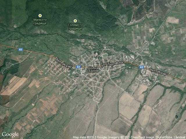 Сателитна карта на Долна баня