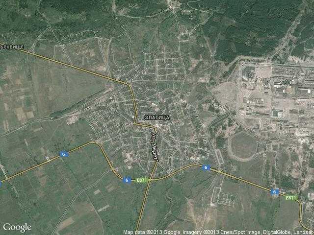 Сателитна карта на Златица