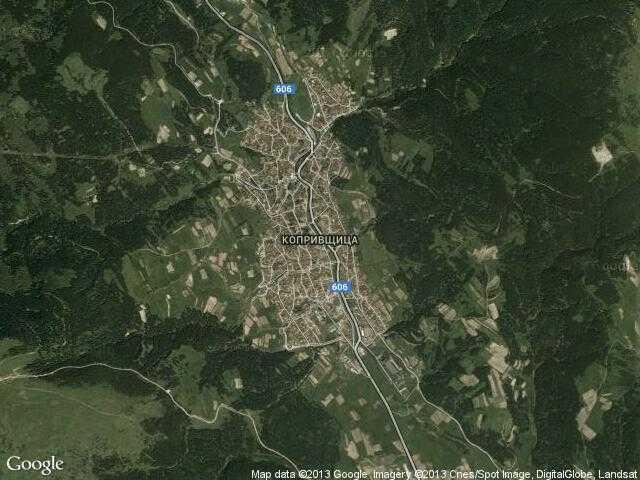 Сателитна карта на Копривщица