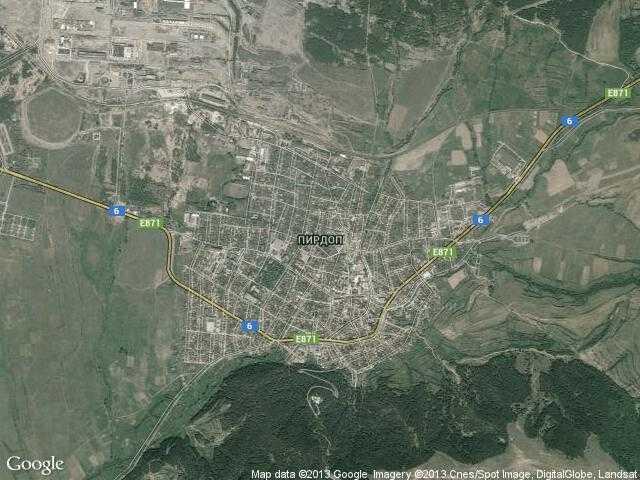 Сателитна карта на Пирдоп