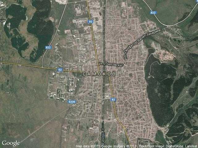 Сателитна карта на Самоков