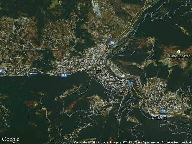 Сателитна карта на Своге