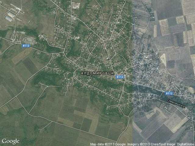 Сателитна карта на Алдомировци