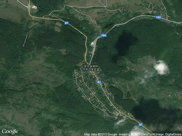 Сателитна карта на Бучин проход