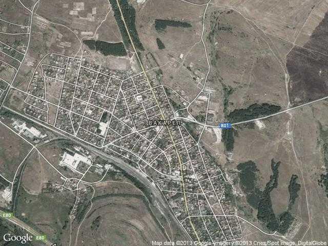 Сателитна карта на Вакарел