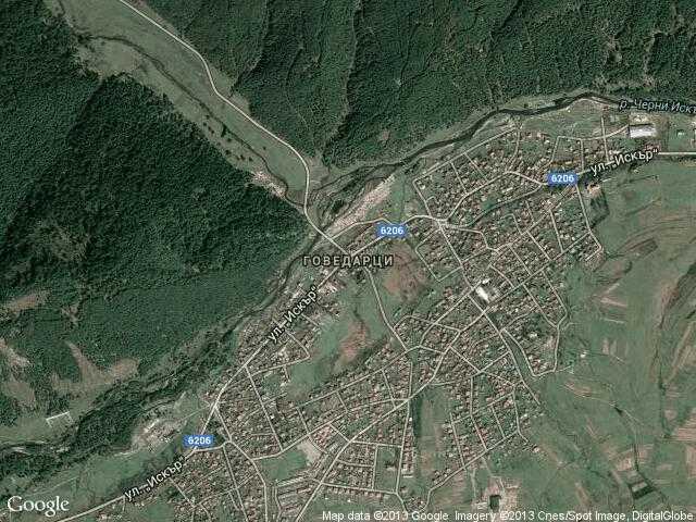 Сателитна карта на Говедарци