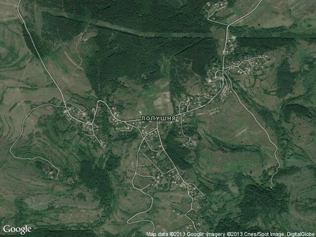 Сателитна карта на Лопушня