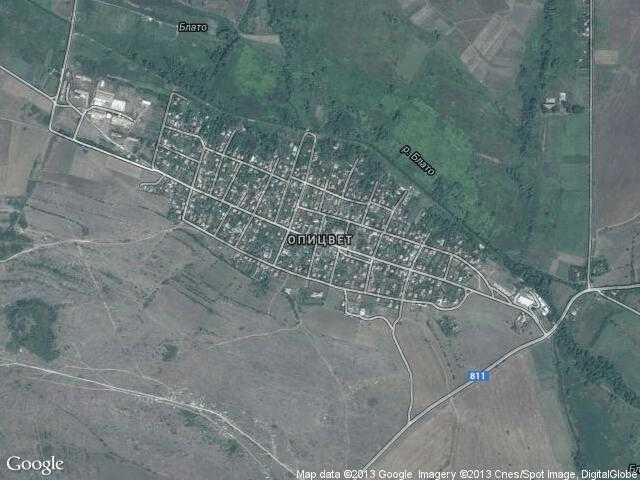 Сателитна карта на Опицвет