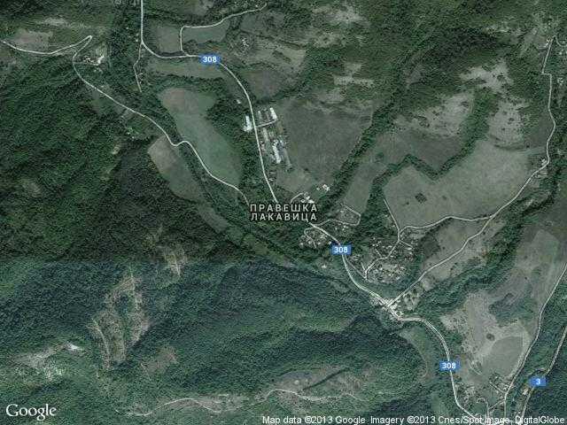 Сателитна карта на Правешка Лакавица
