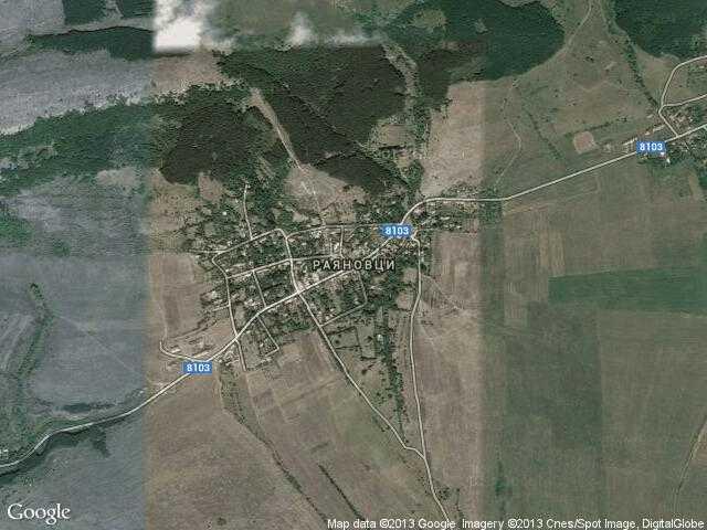 Сателитна карта на Раяновци