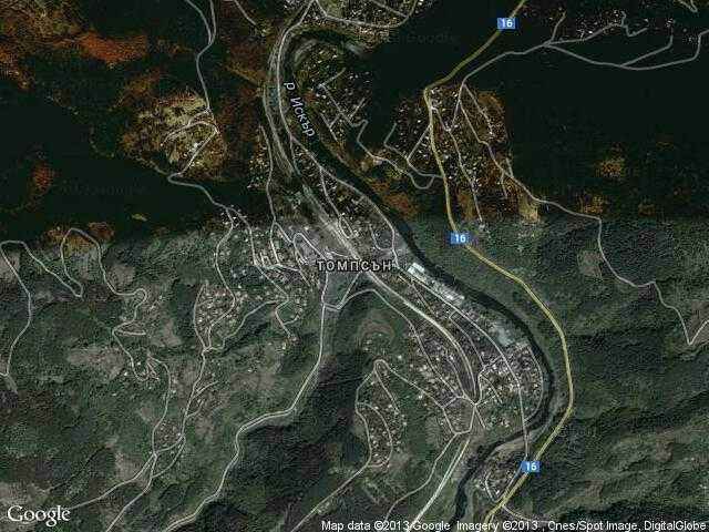Сателитна карта на Томпсън
