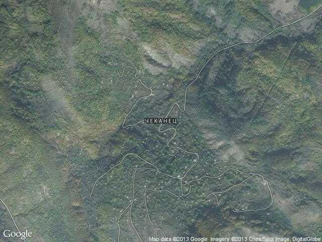 Сателитна карта на Чеканец