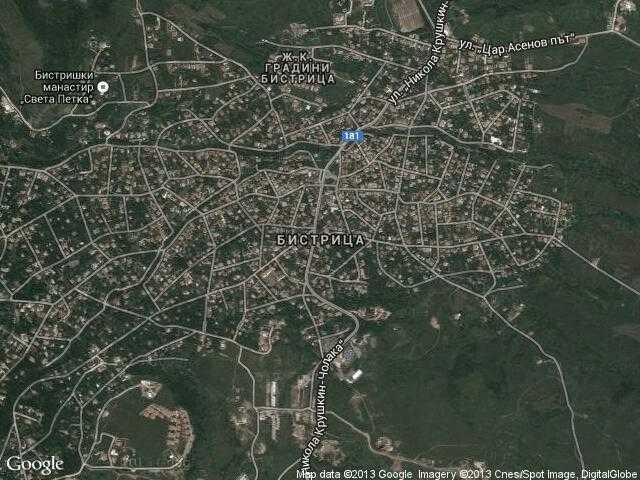 Сателитна карта на Бистрица