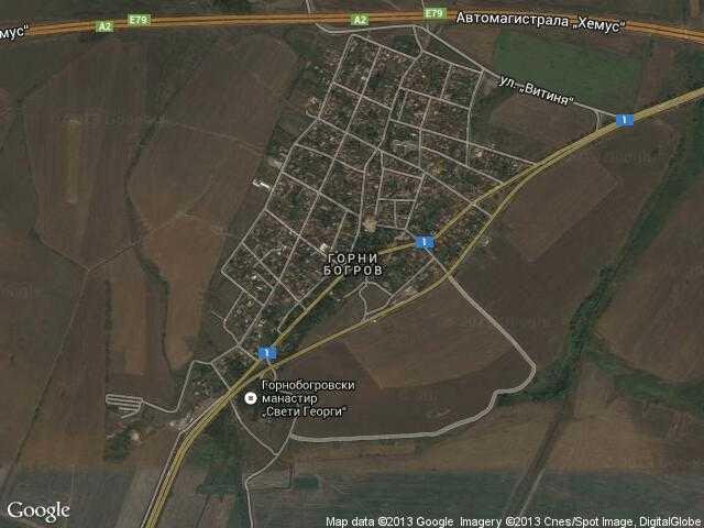 Сателитна карта на Горни Богров