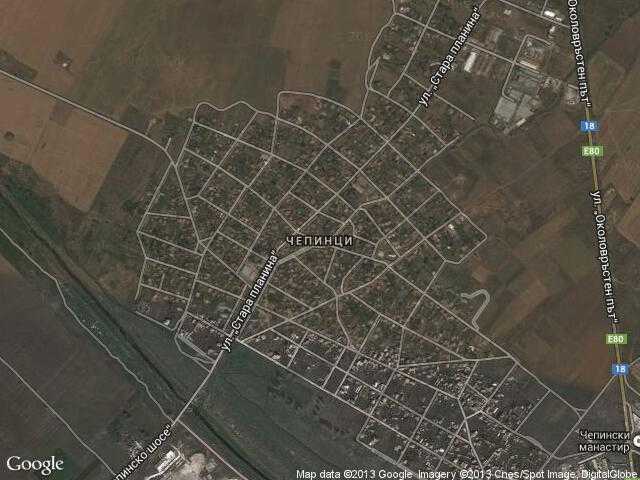 Сателитна карта на Чепинци