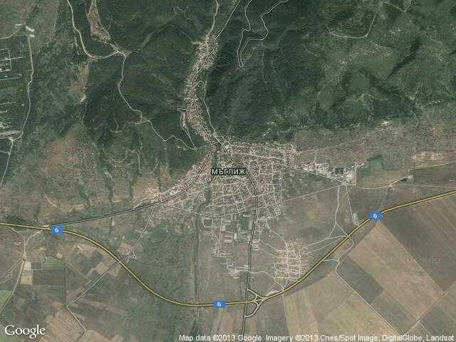 Сателитна карта на Мъглиж