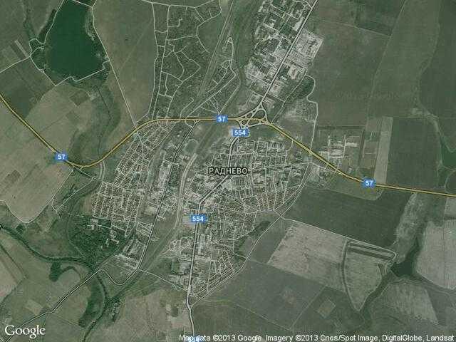 Сателитна карта на Раднево