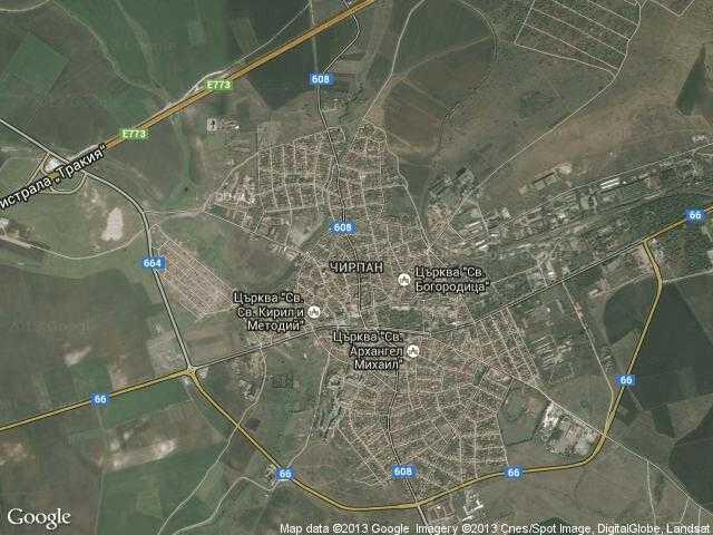 Сателитна карта на Чирпан