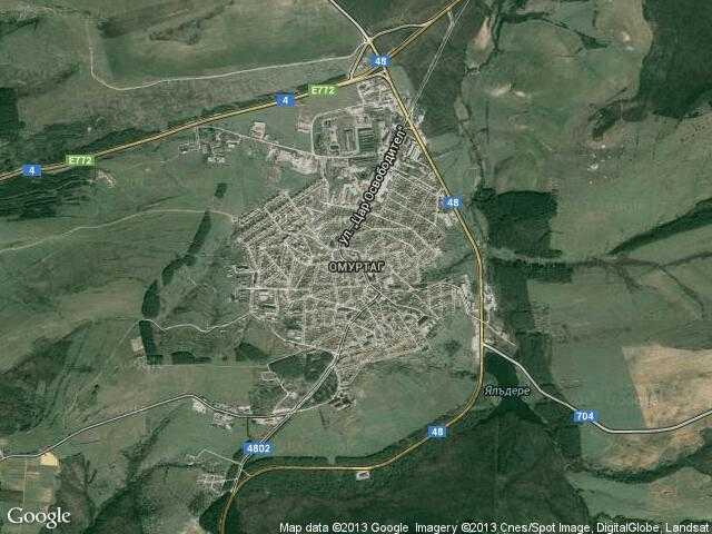 Сателитна карта на Омуртаг