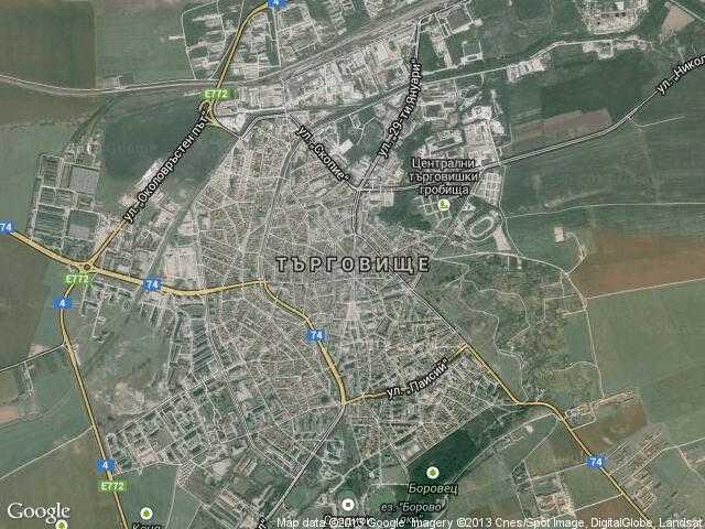 Сателитна карта на Търговище