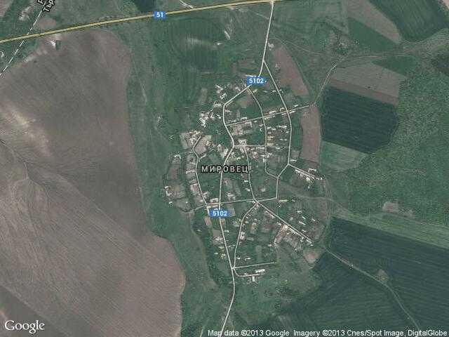 Сателитна карта на Мировец