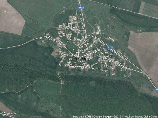 Сателитна карта на Острец