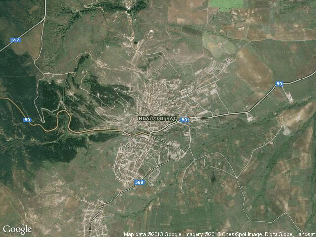 Сателитна карта на Ивайловград