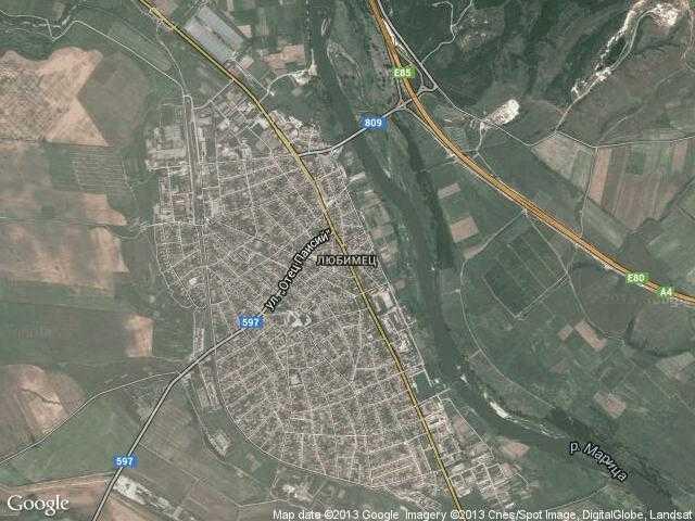 Сателитна карта на Любимец