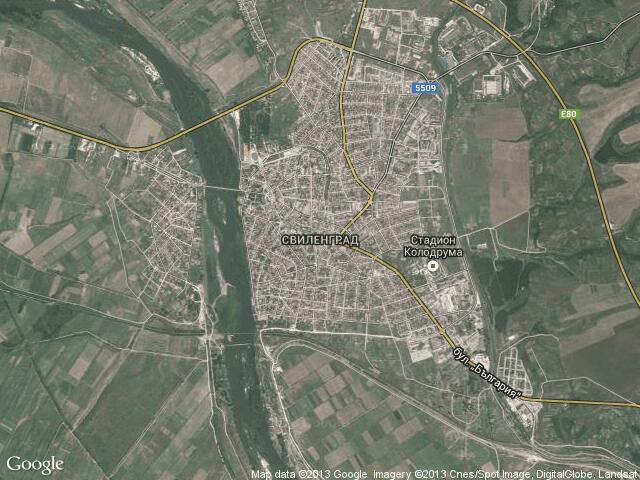 Сателитна карта на Свиленград