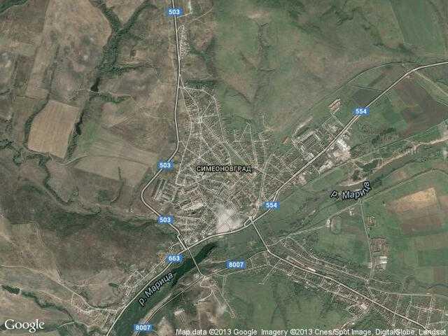 Сателитна карта на Симеоновград
